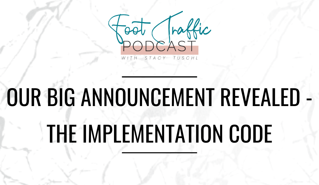 Our BIG Announcement Revealed – The Implementation Code